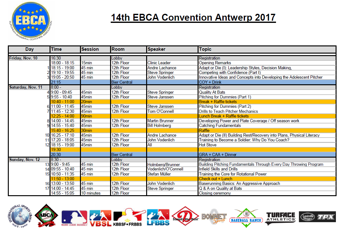 Convention Schedule 2017